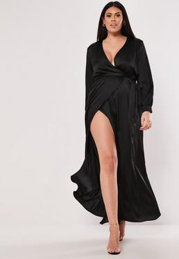 ddd3bf35c0 ... Plus Size Black Plunge Wrap Maxi Dress