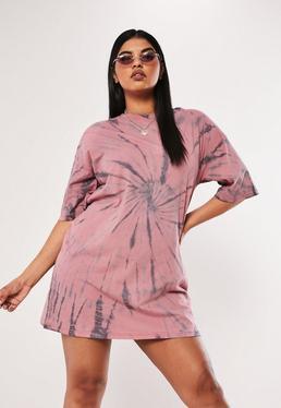 acc84c2ffc9c ... Plus Size Pink Tie Dye T Shirt Dress