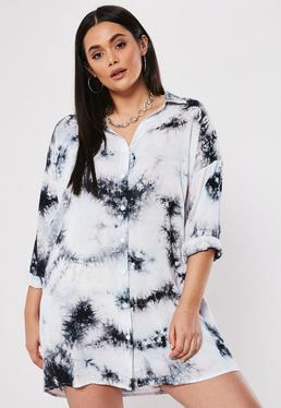 c69a7643eced ... Plus Size White Space Dye Oversized Shirt Dress