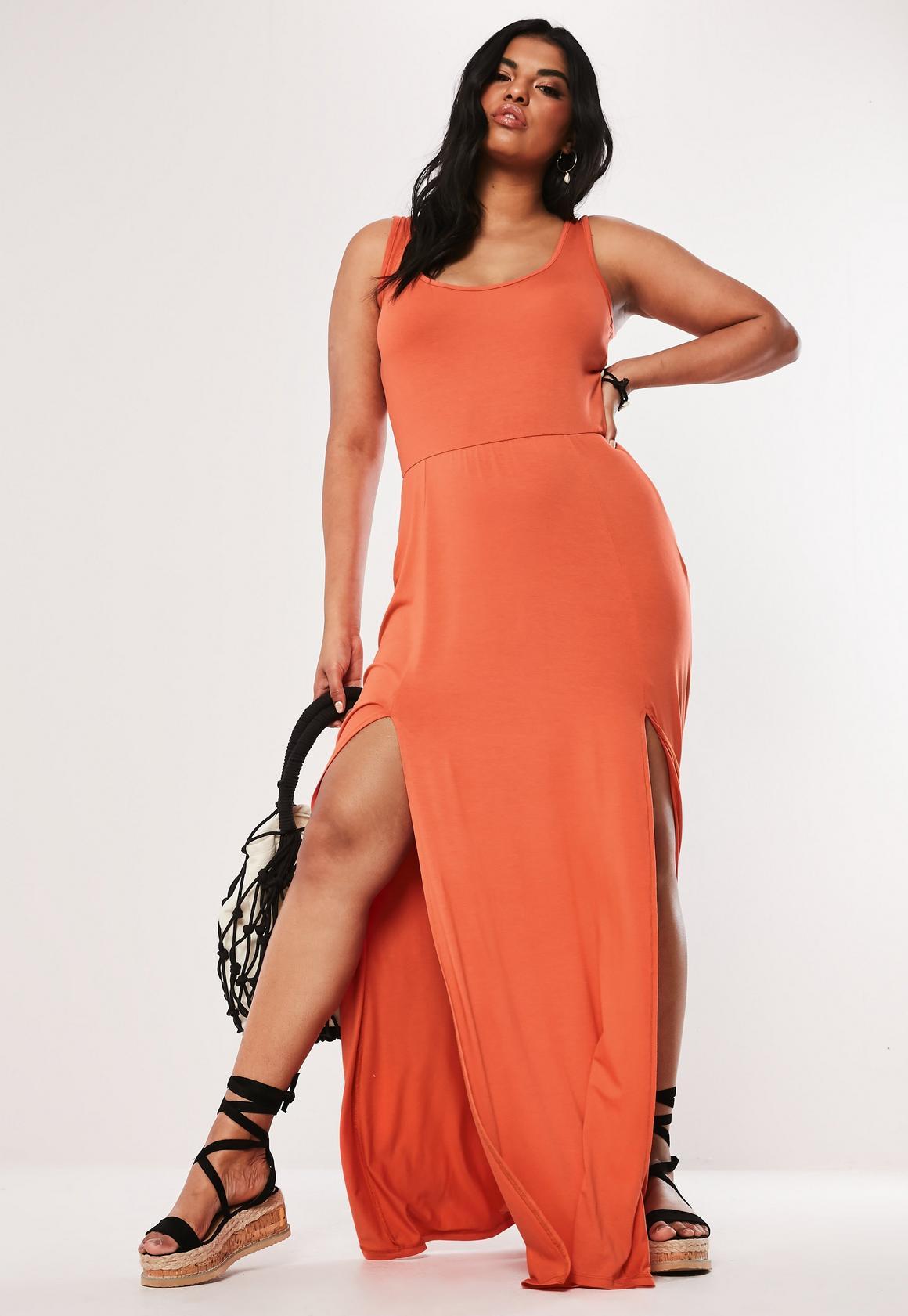 Plus Size Orange Double Split Maxi Dress