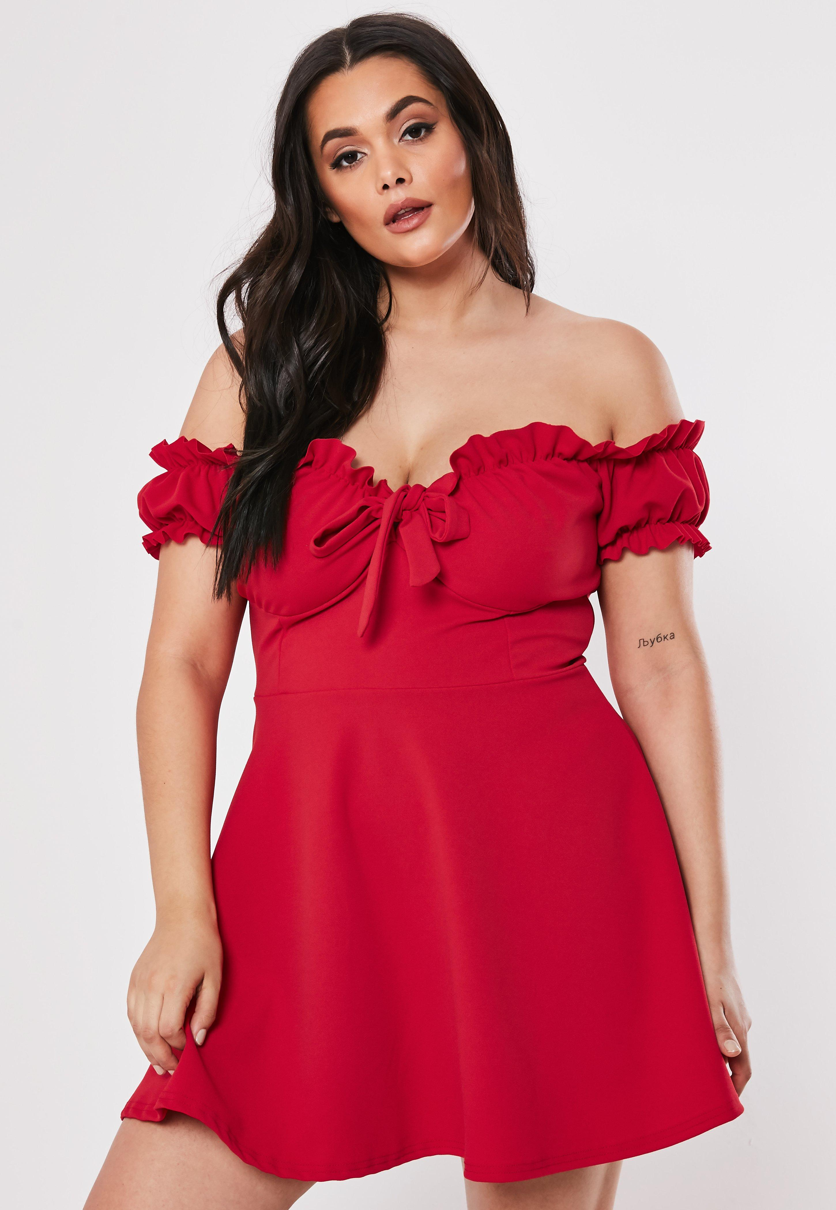 Encolure Robe Tailles Effet Corsage Rouge Grandes zLSqVUpMG