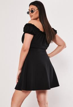 030bc83f1d2 Plus Size Black Milkmaid Skater Dress