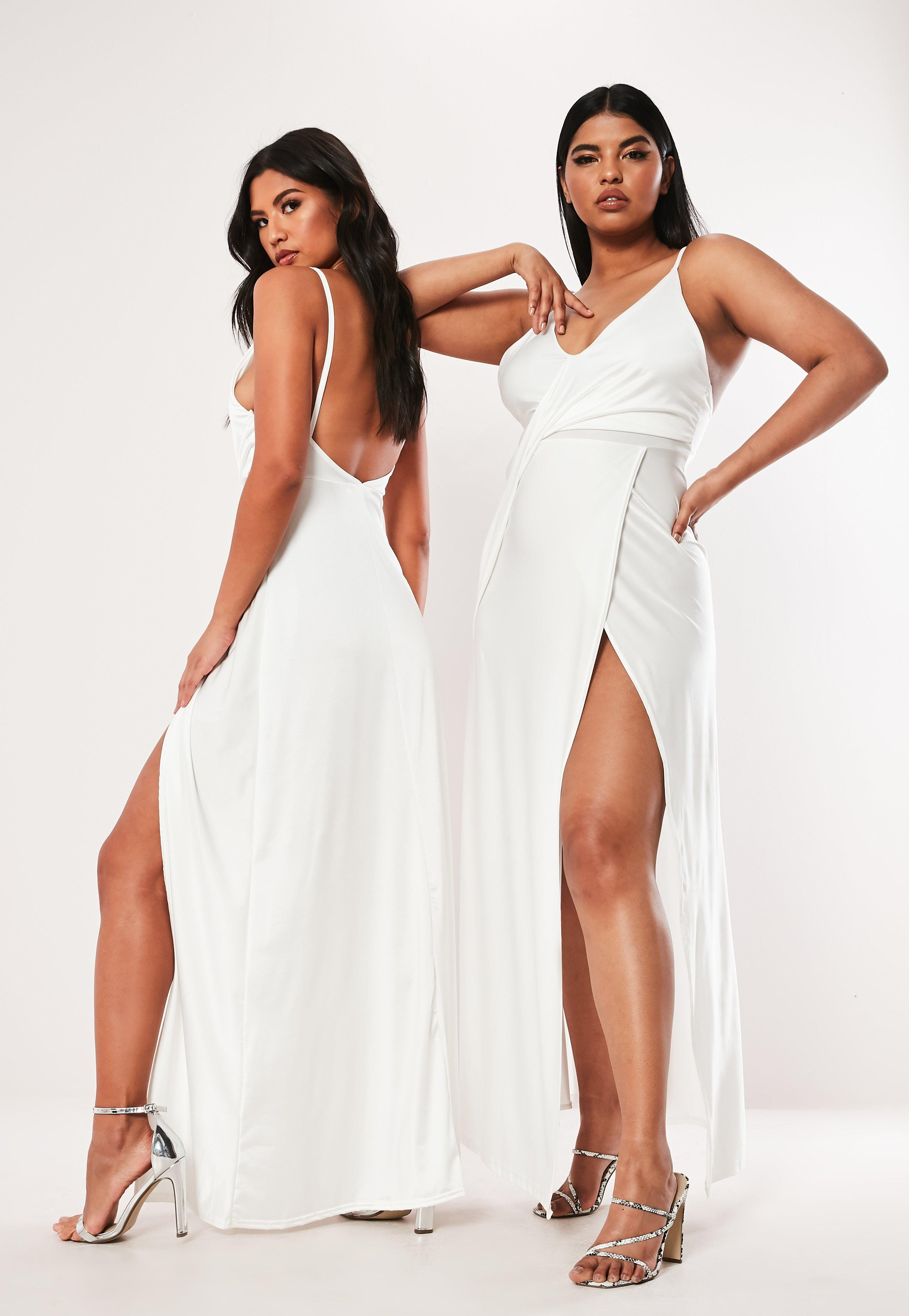 Plus Size White Slinky Drape Front Maxi Dress