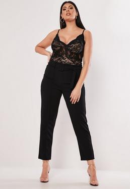 4188a4a1c Plus Size Black Self Belt Tapered Trousers