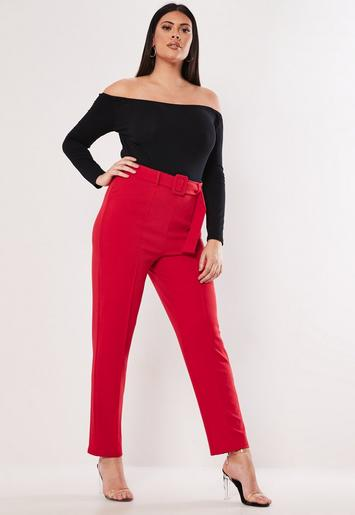 Plus Size Red Self Belt Tapered Pants | Missguided