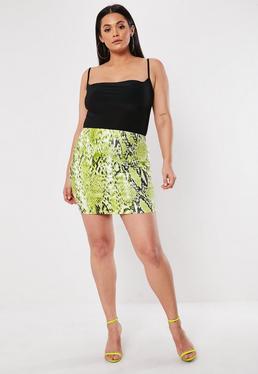 Plus Size Green Snake Print Mini Skirt