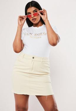 72c286e359e ... Plus Size White Slogan T Shirt Bodysuit