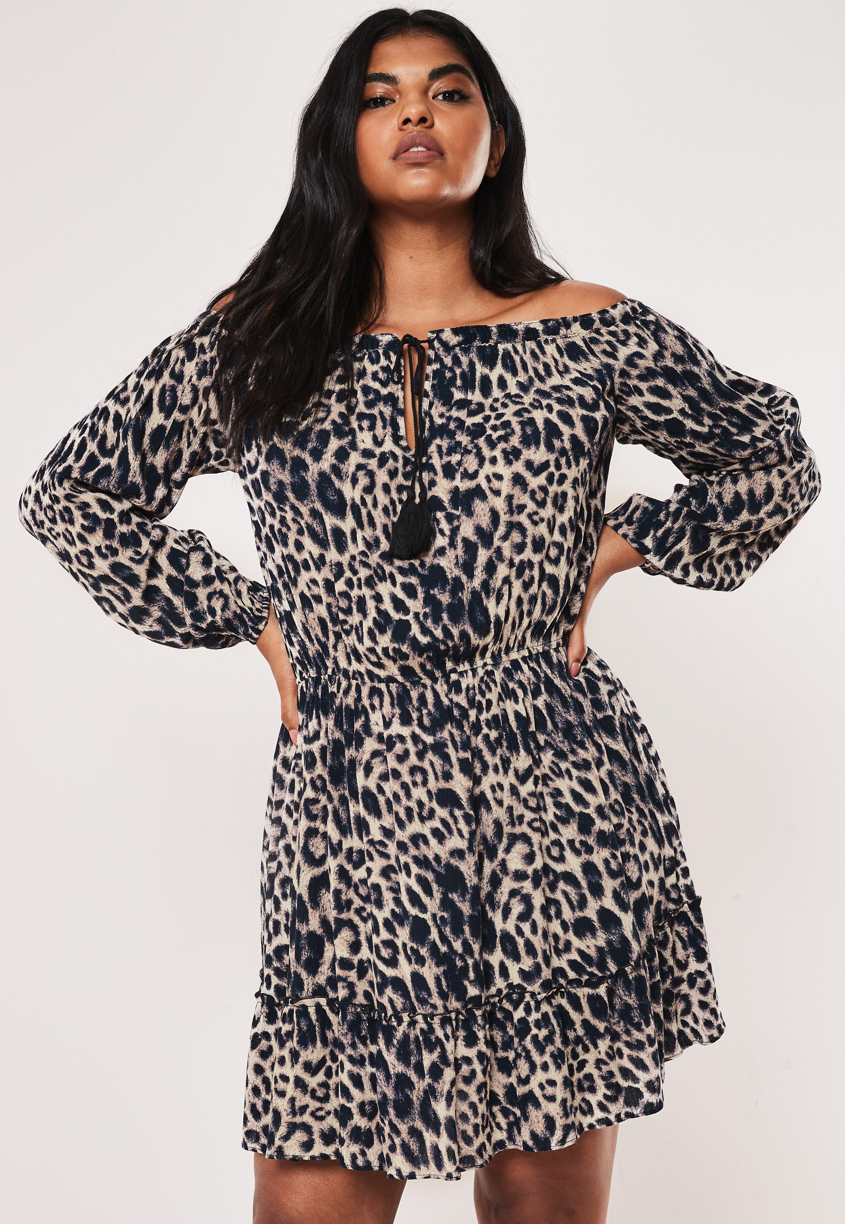 Plus Size Brown Leopard Print Bardot Skater Dress