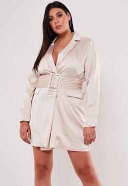 aab9427b375 Stone Sleeveless Belted Blazer Dress · Plus Size Pink Satin Belted Blazer  Dress