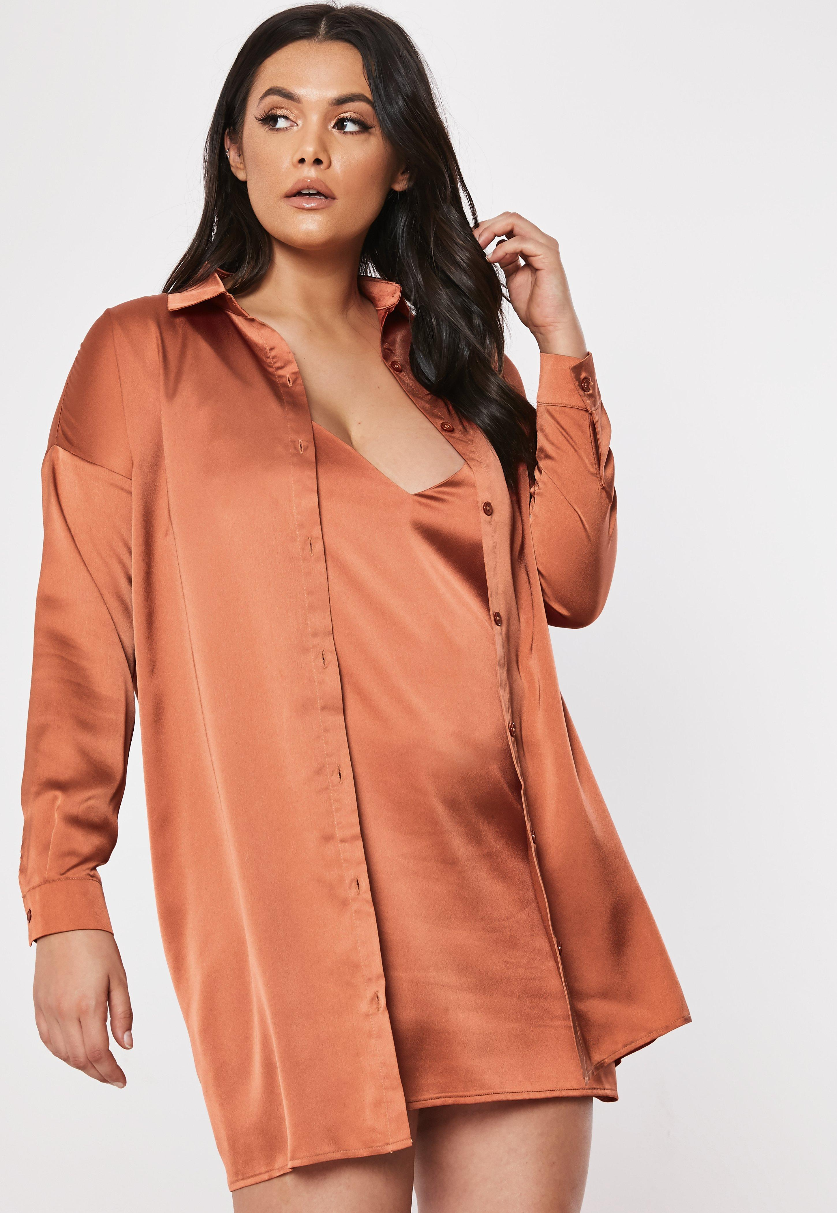 551a79fe Plus Size Rust Co Ord Satin Shirt Dress | Missguided