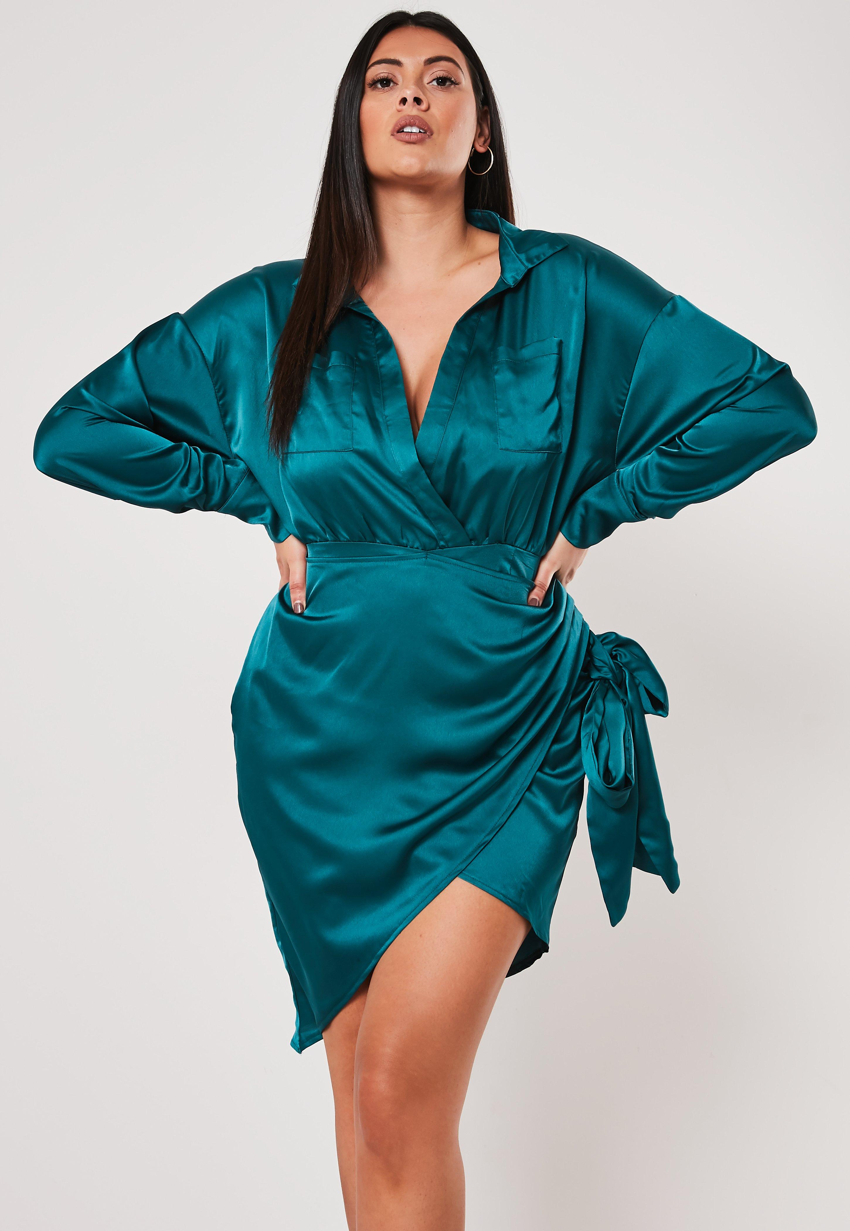 Plus Size Teal Satin Tie Side Mini Dress | Missguided