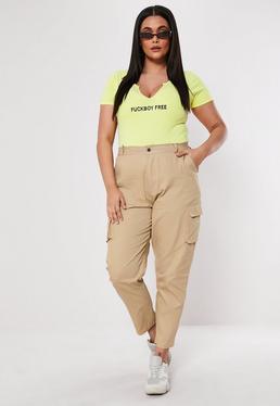 c8646c69fc3624 Plus Size Black Straight Leg Cargo Pants  Plus Size Sand Straight Leg Cargo  Pants
