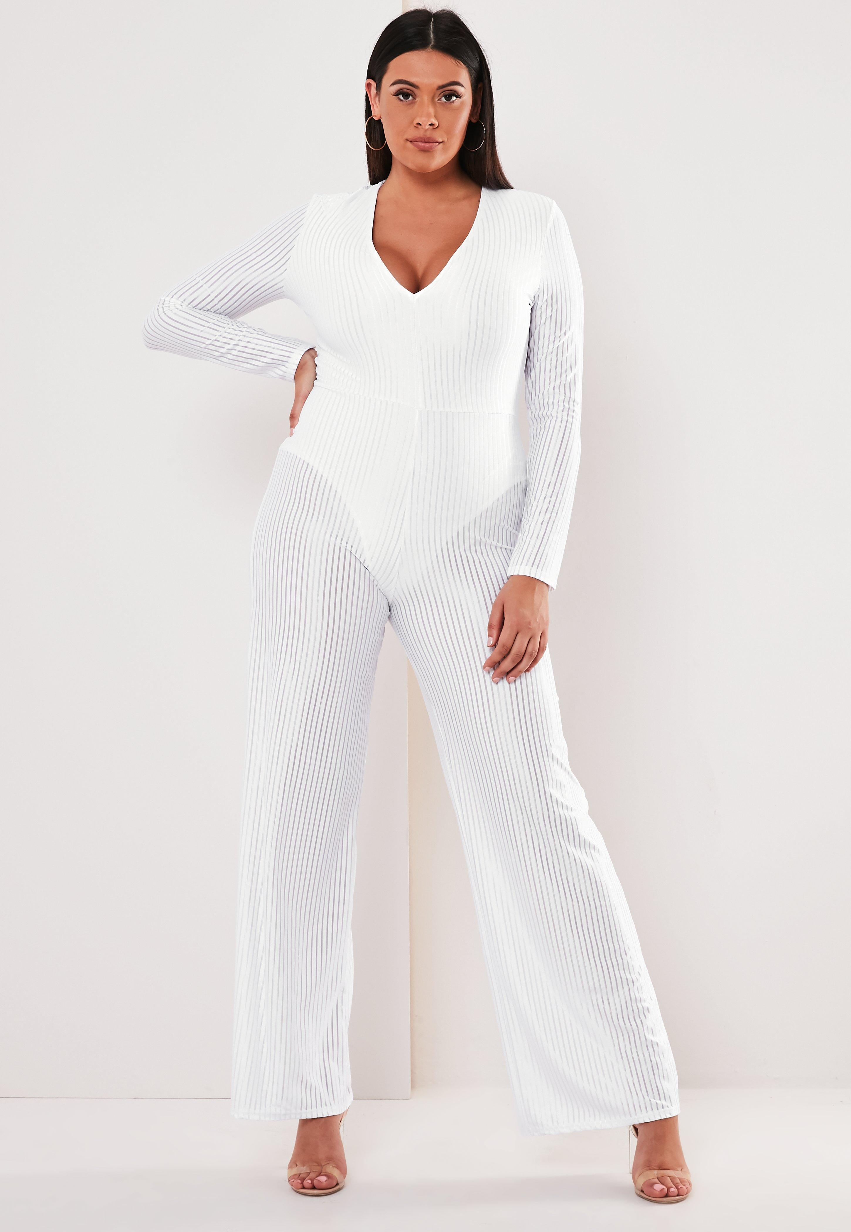 Plus Size White Sheer Panel Ribbed Wide Leg Jumpsuit