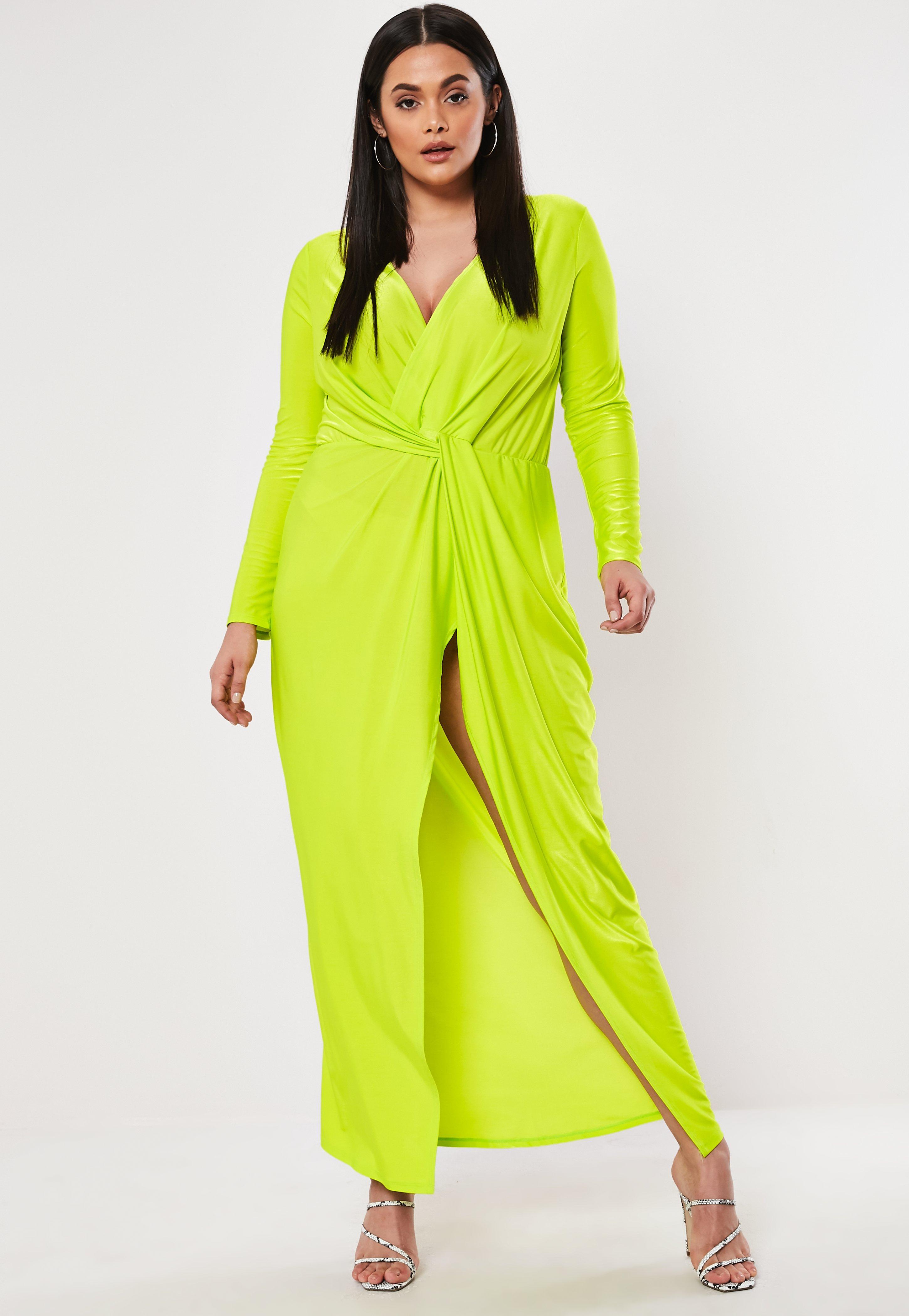Plus Size Lime Thigh Split Maxi Dress