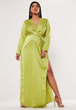 752e0f5474e ... Plus Size Lime Satin Thigh Split Maxi Dress