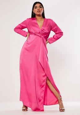 c551f7934b Plus Size Różowa satynowa sukienka maxi