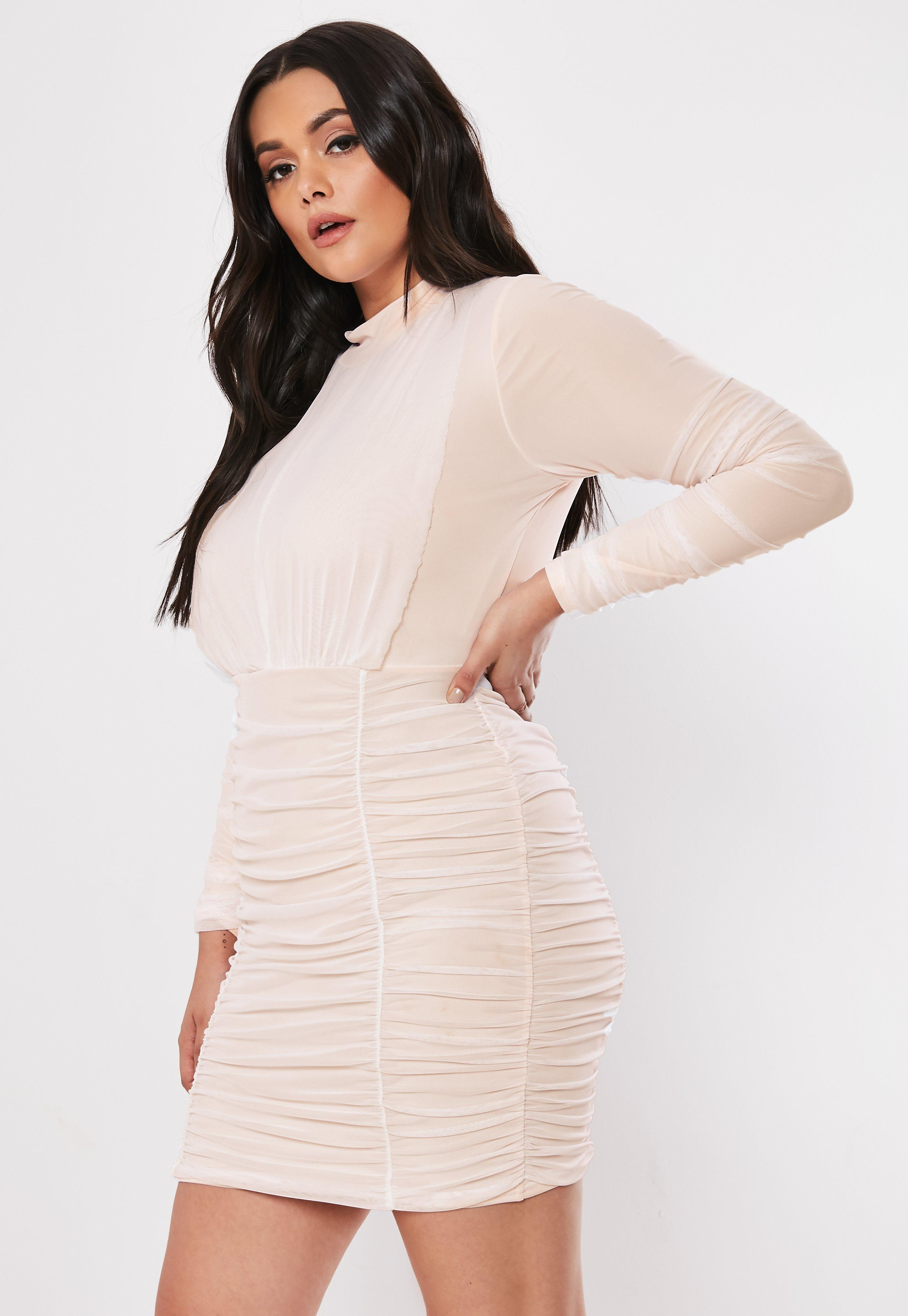 Plus Size Nude Ruched High Neck Mini Dress | Missguided