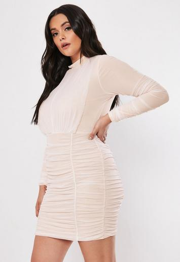 Plus Size Nude Ruched High Neck Mini Dress by Missguided