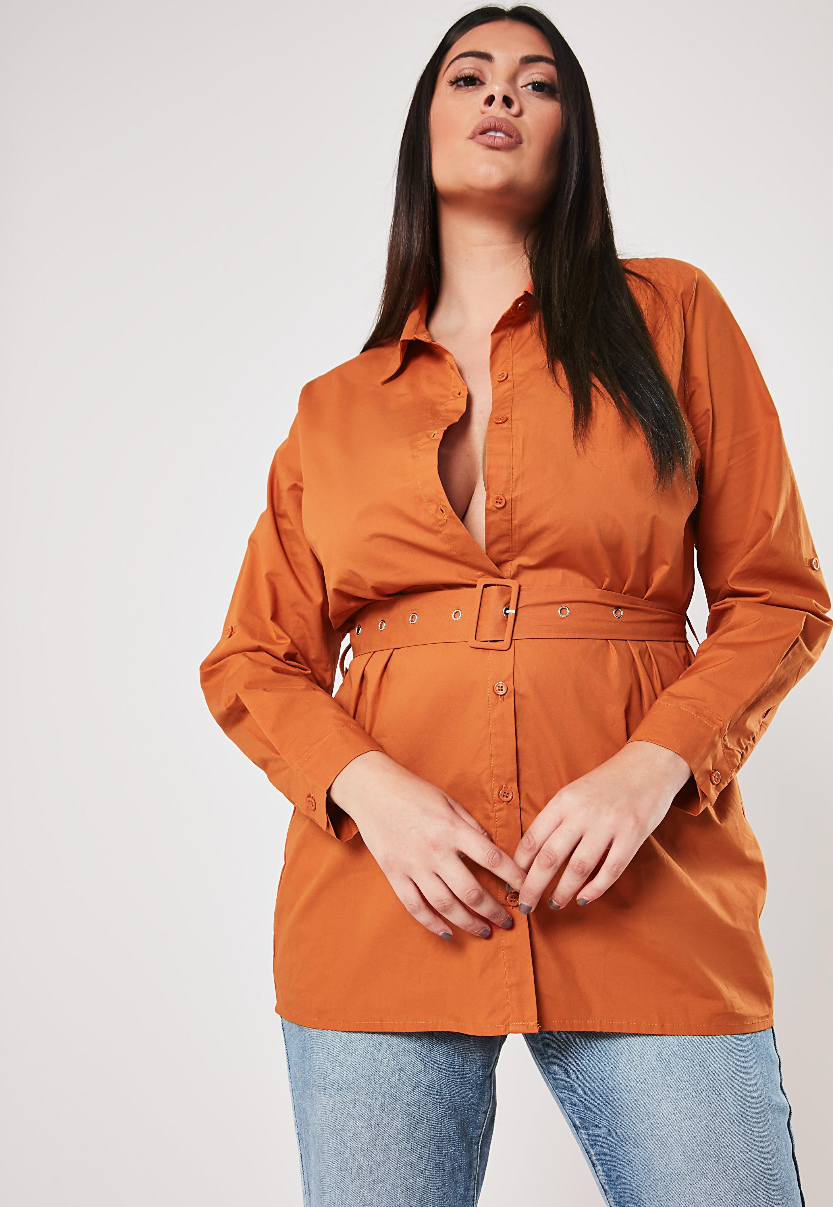 Plus Size Rust Belted Shirt by Missguided