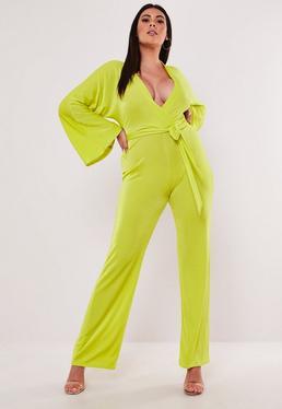 7cbb67d57a2 ... Plus Size Lime Batwing Slinky Wide Leg Jumpsuit