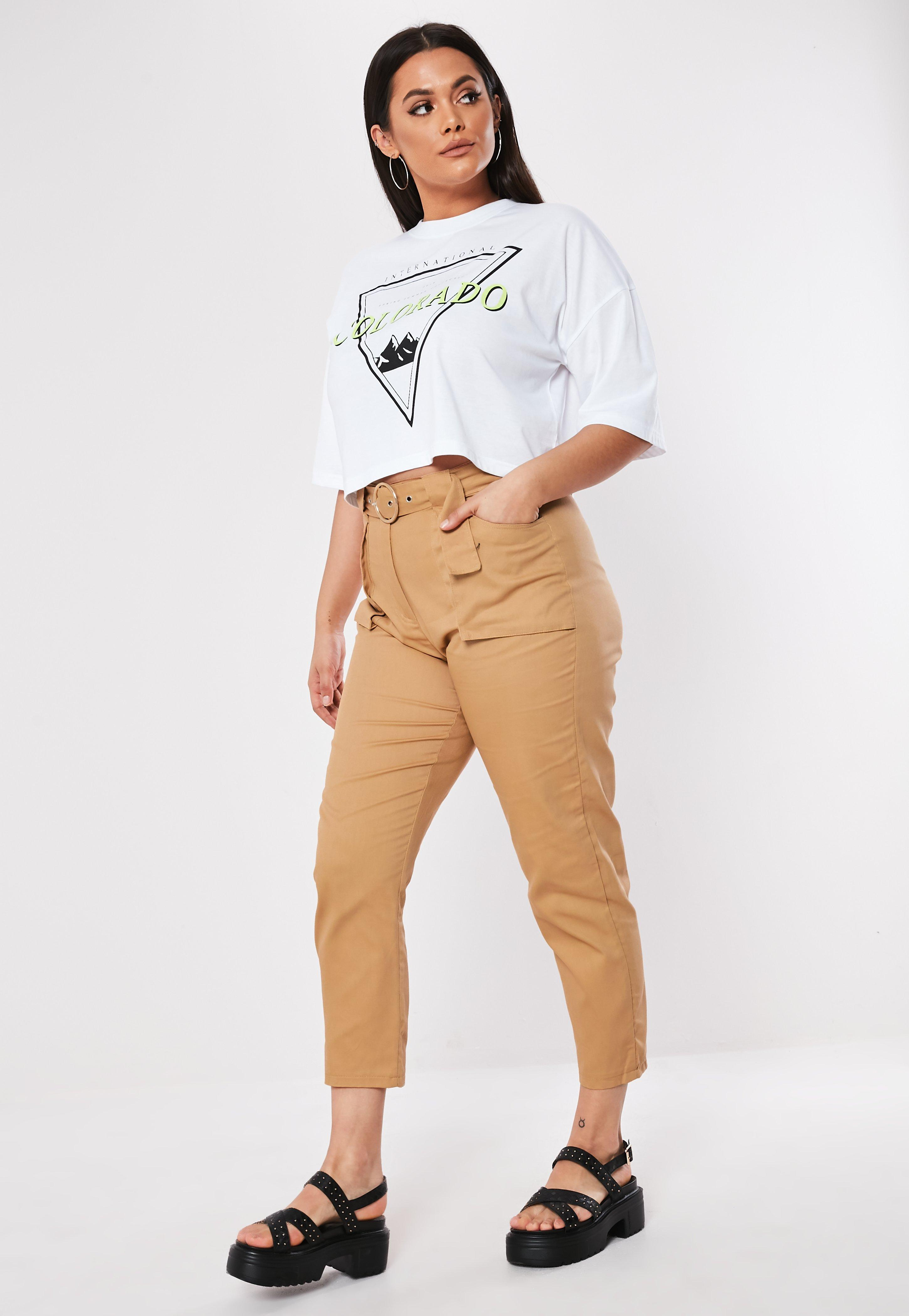 Plus Size Sand Belt Detail Cargo Pants by Missguided