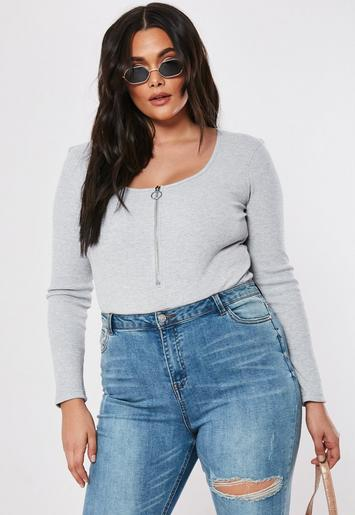 Plus Size Grey Ribbed Zip Front Bodysuit by Missguided