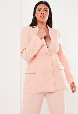 d3b4c7d8f4f ... Plus Size Pink Co Ord Double Breasted Blazer
