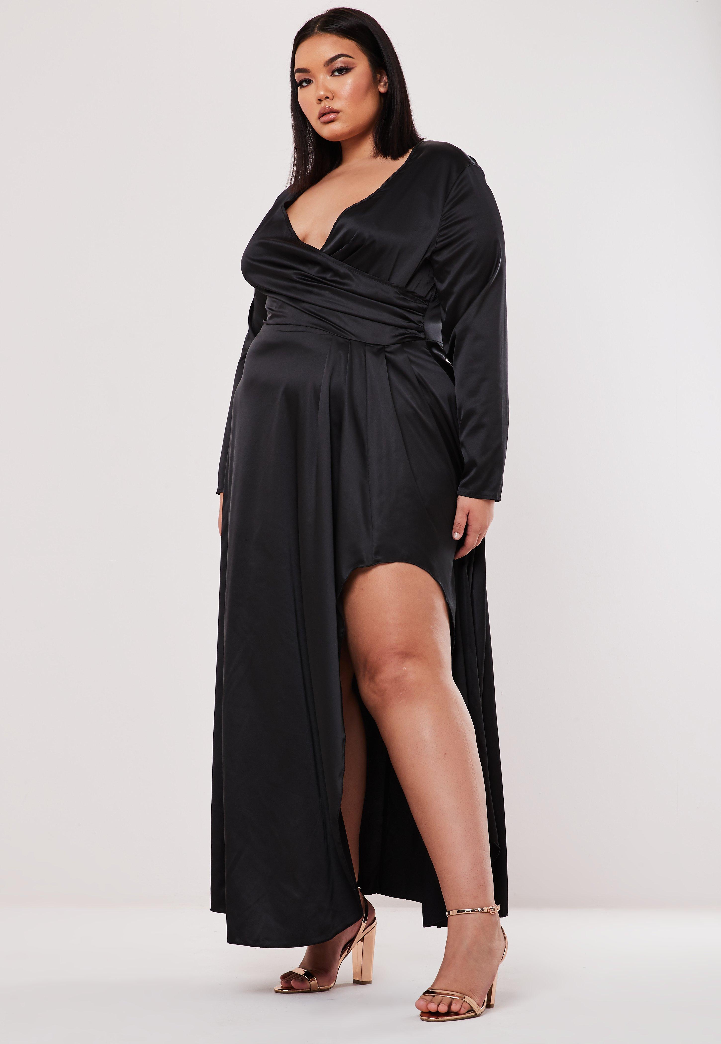 revendeur 112aa d65f9 Robe noire longue en satin Grandes tailles