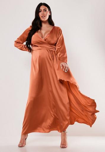 Plus Size Rust Satin Wrap Maxi Dress