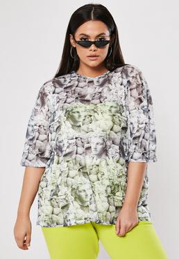 4740fb43fa0 Plus Size Grey Statue Print Oversized Mesh T Shirt