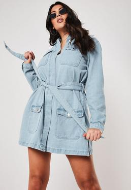 55118842 ... Plus Size Blue Belted Denim Mini Dress