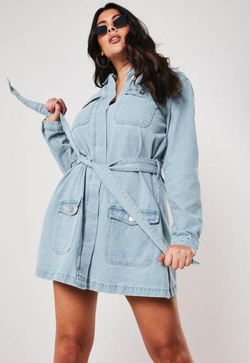 plus-size-blue-belted-denim-mini-dress by missguided