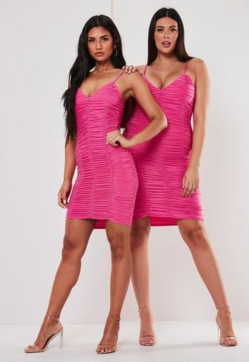 Plus Size Pink Ruched Mesh Mini Dress Missguided