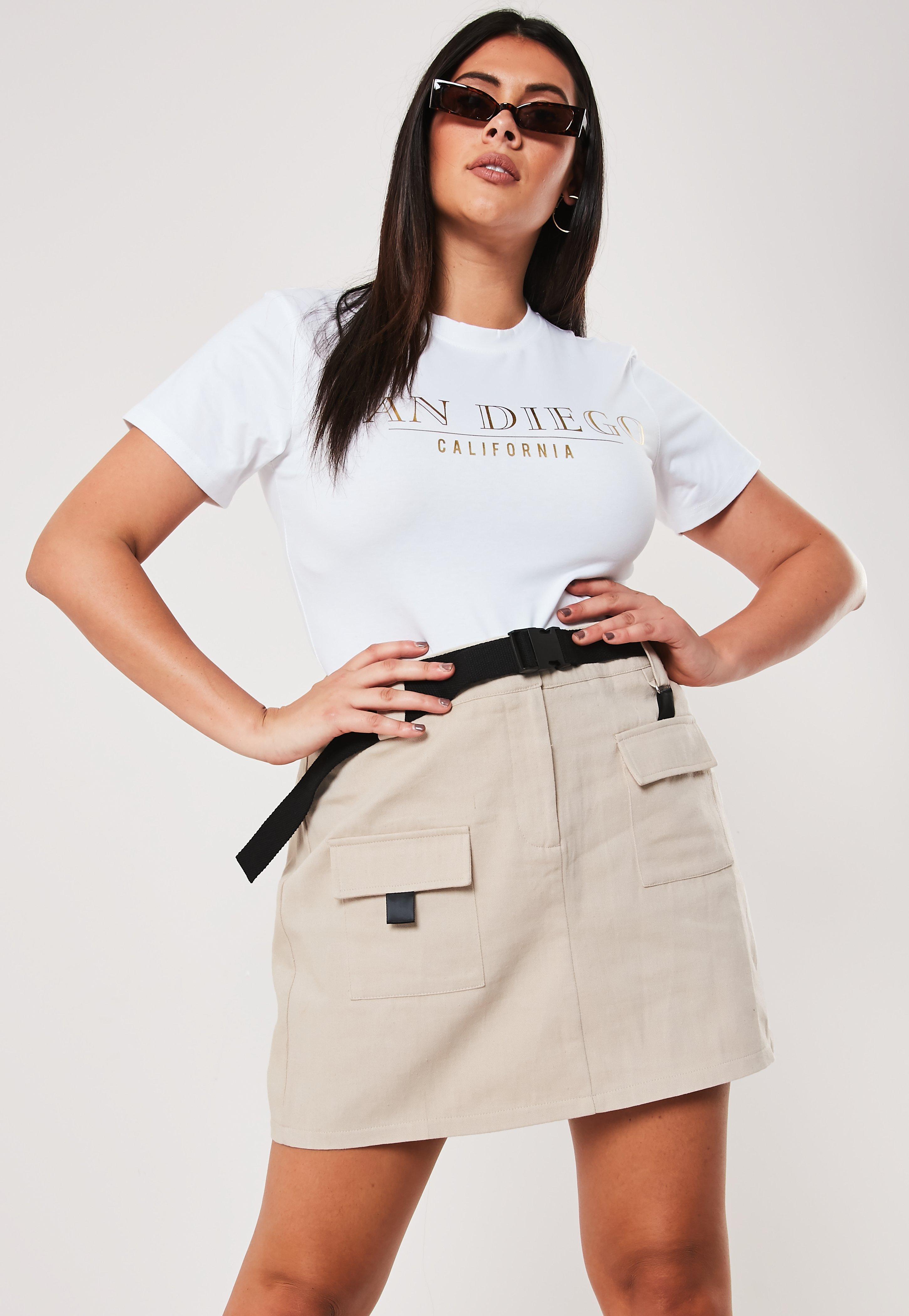 9bde381366a2f Plus Size Beige Utility Mini Skirt