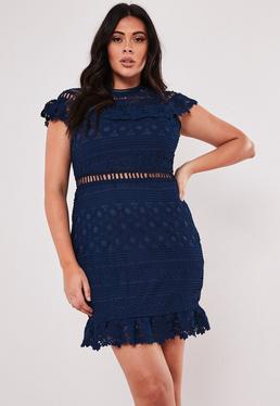 88bb125ce99 ... Plus Size Navy Lace High Neck Short Sleeve Skater Dress