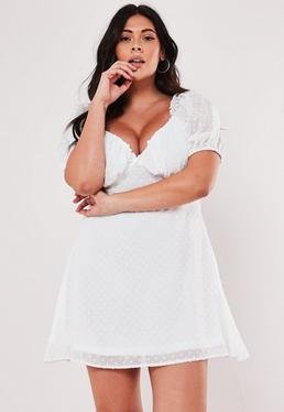 f88c257c977 Plus Size White Dobby Milkmaid Skater Dress