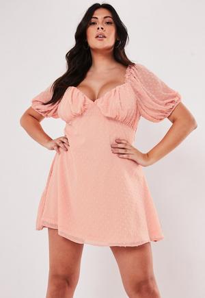 29ecd5968b Plus Size White Dobby Wrap Front Mini Dress   Missguided