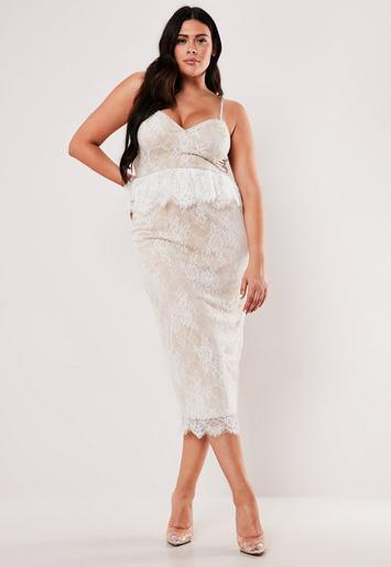 Missguided - Plus Size White Lace Diamante Strap Peplum Midi Dress