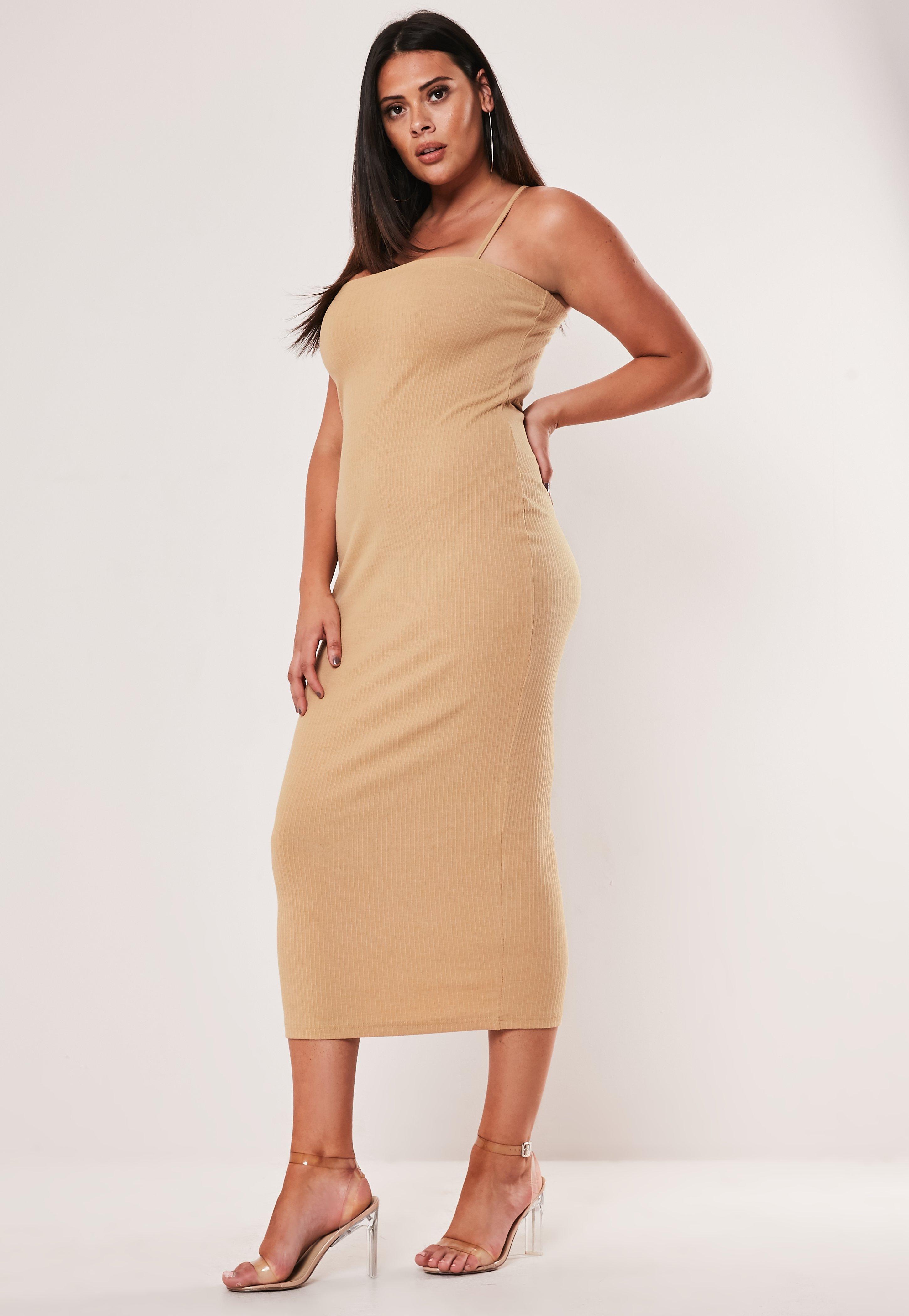 Plus Size Nude Square Neck Rib Midi Dress