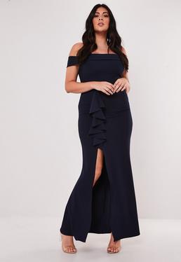 33f89e3e184 Petite Bridesmaid Blush Lace Bardot Fishtail Maxi Dress · Plus Size  Bridesmaid Navy Bardot Frill Maxi Dress
