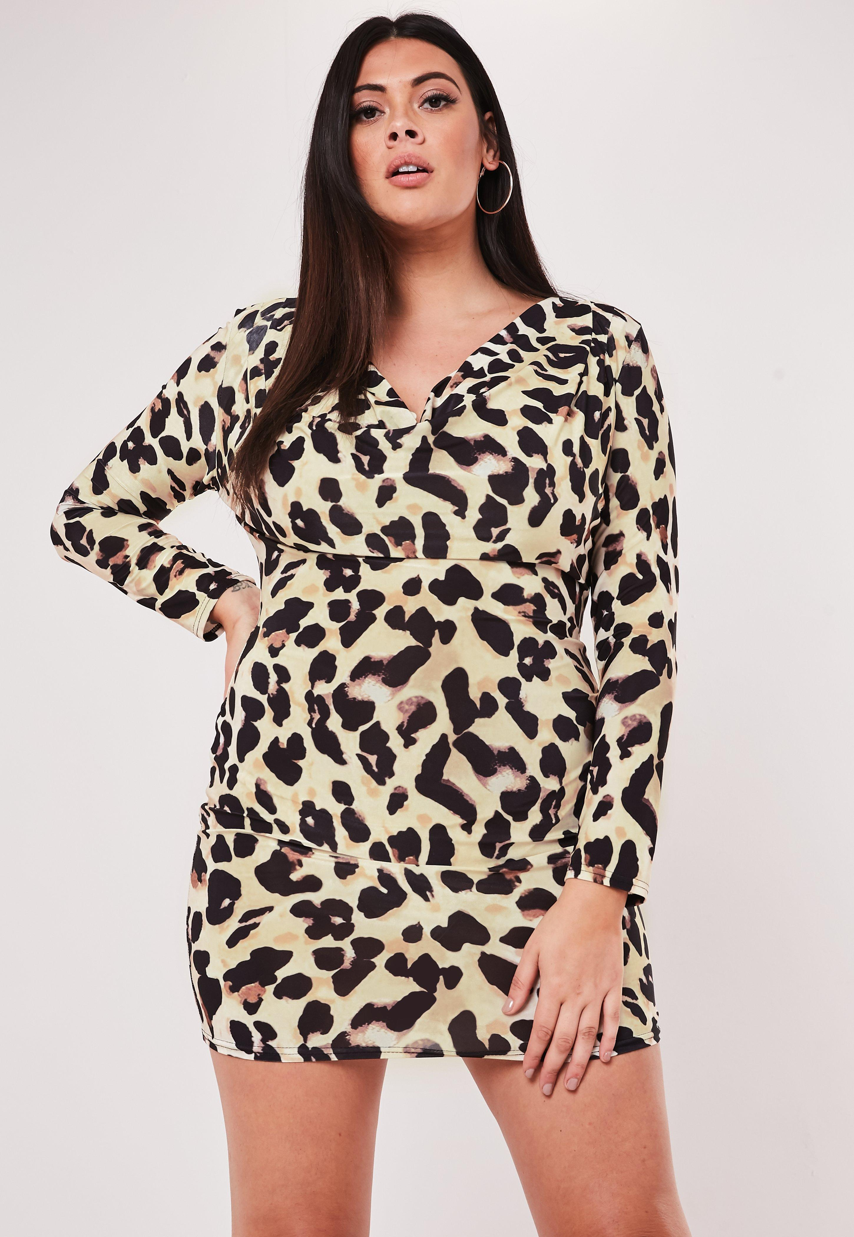 Plus Size Brown Leopard Print Cowl Neck Slinky Mini Dress