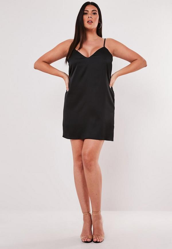 Plus Size Black Co Ord Satin Slip Dress Missguided