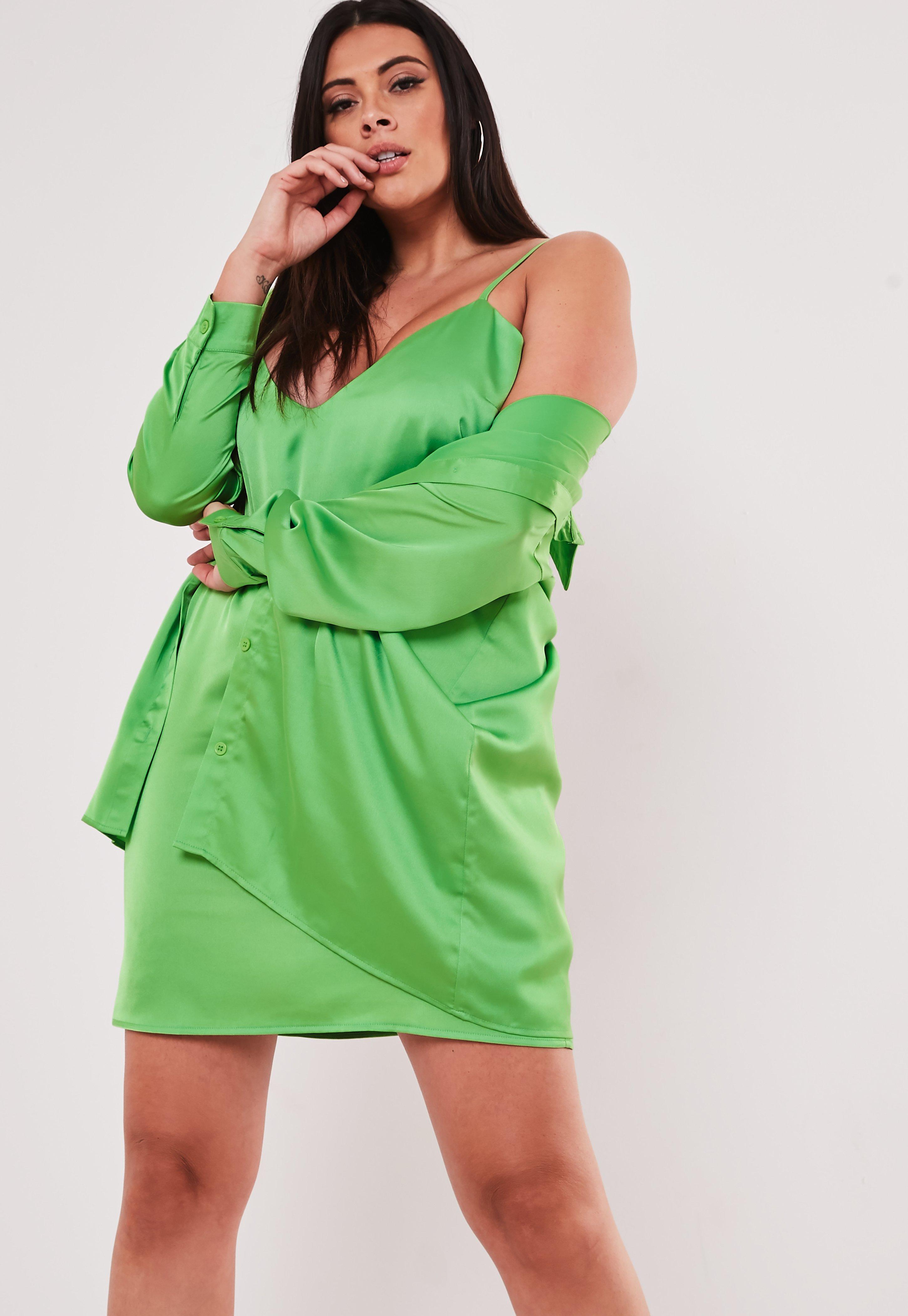 Plus Size Lime Co Ord Satin Shirt Dress