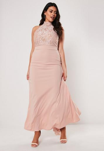 Plus Size Bridesmaid Pink Halterneck Maxi Dress Missguided