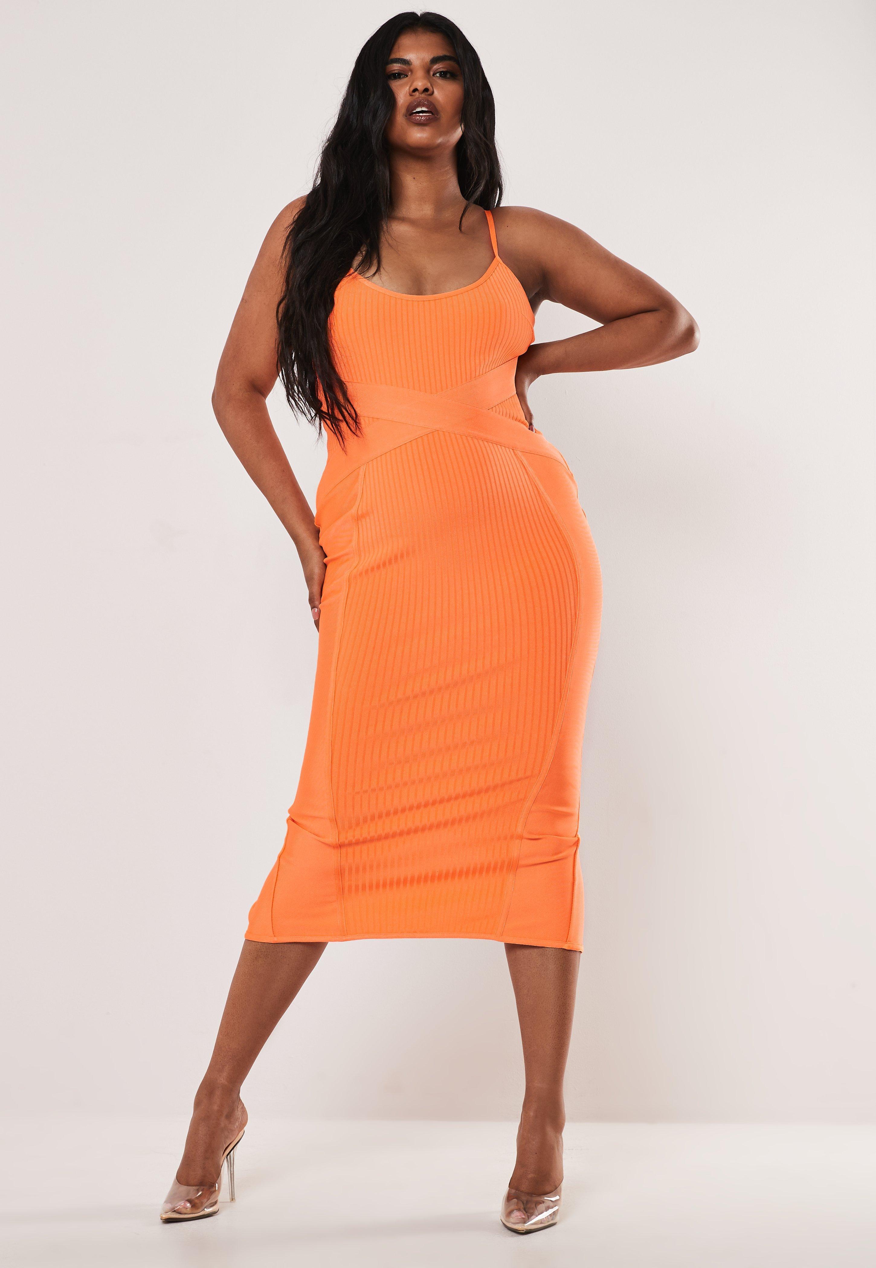 Plus Size Orange Cami Bandage Midaxi Dress