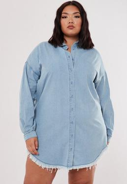 c77257344b Plus Size Blue Oversized Denim Shirt Dress