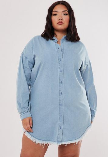 Missguided - Plus Size Blue Oversized Denim Shirt Dress