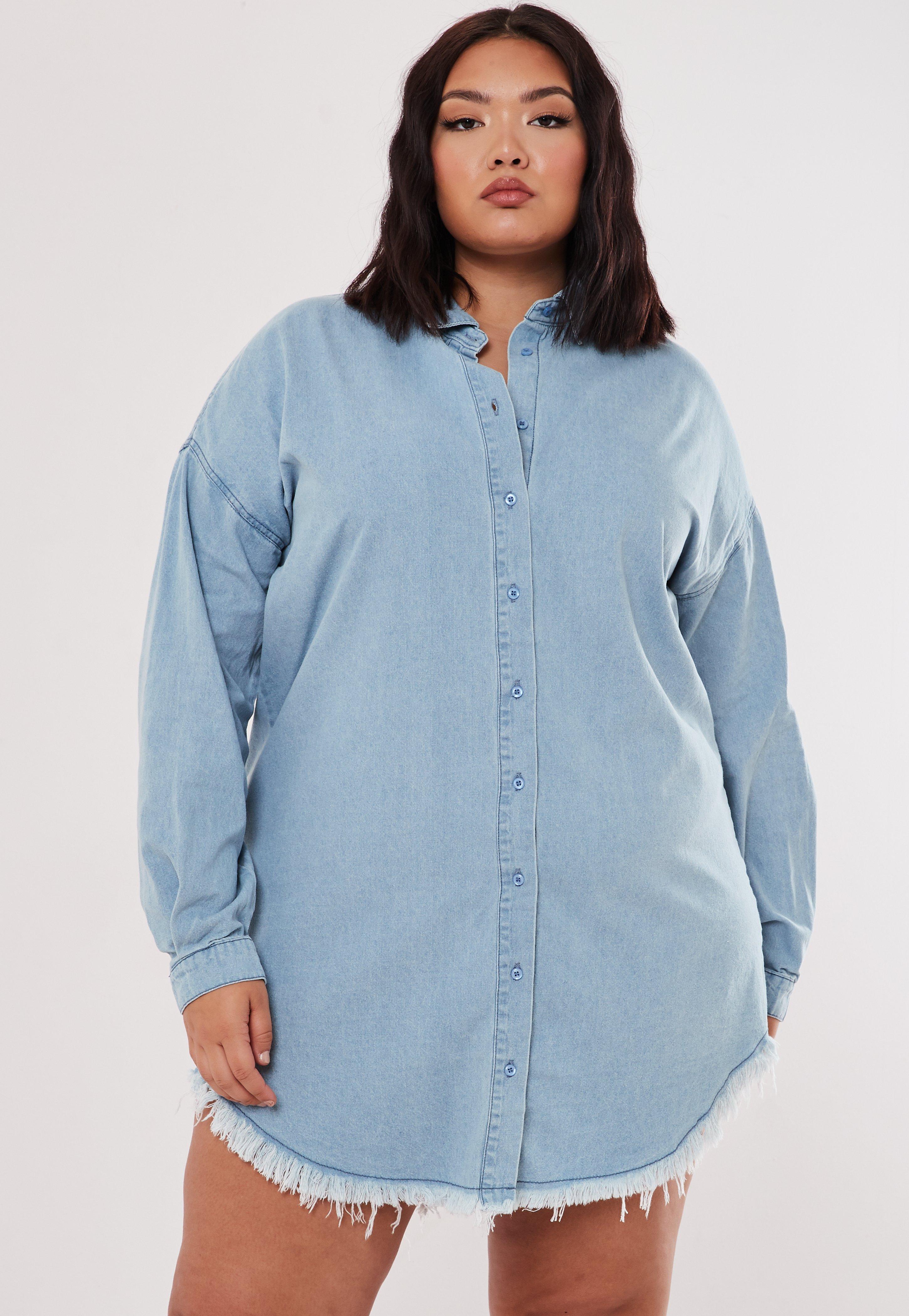 60ea46bb1 Robe chemise en jeans oversize Grandes tailles