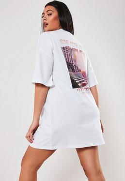 Белая футболка большого размера с принтом New York
