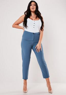 6e14f2b29ac4 ... Plus Size Blue Co Ord Cigarette Trousers